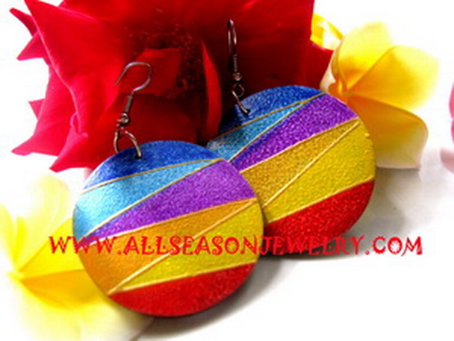 wooden earrings painted