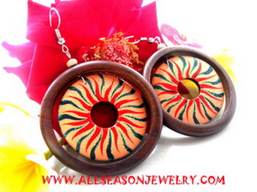 wooden earrings handpainted