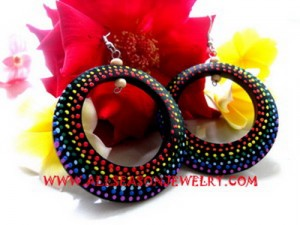 African Painted Wooden Earring