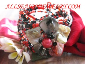 beaded seed wire bracelet